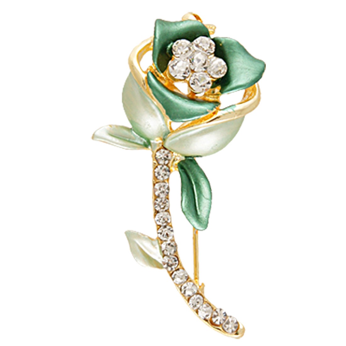Glittery Rhinestone Accent Green Rose Floral Breastpin for Lady