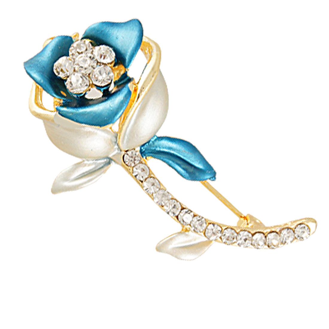 Lady Rhinestone Detail Indigo Blue Rose Flower Pin Closure Brooch