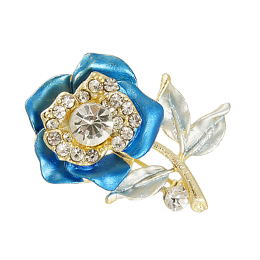 Rhinestone Inlaid Blue Rose Flower Safety Pin Closure Brooch Jewelry
