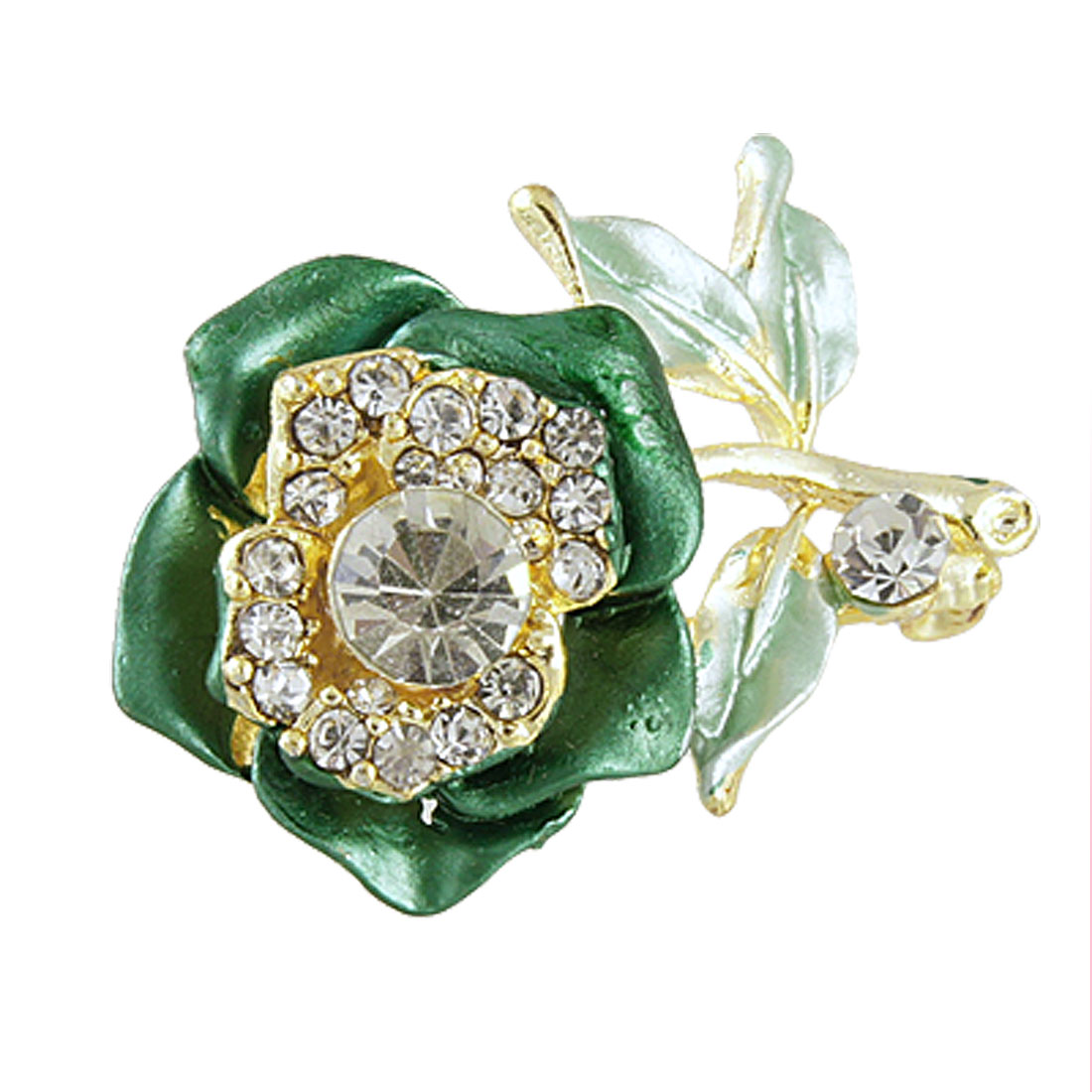Glitter Rhinestone Accent Green Rose Flower Safety Pin Brooch for Lady