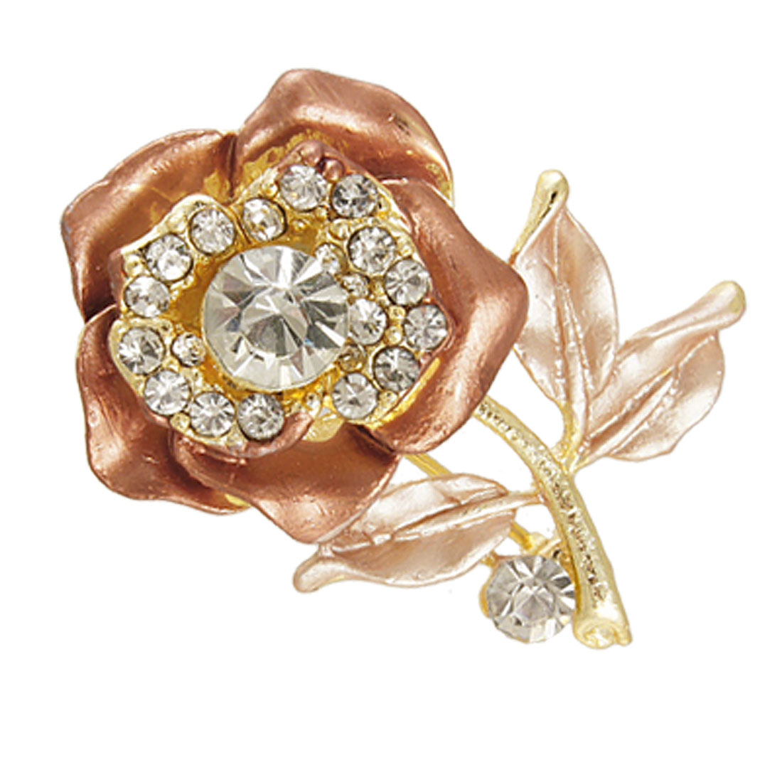 Glitter Rhinestone Accent Brown Rose Floral Safety Pin Brooch for Lady