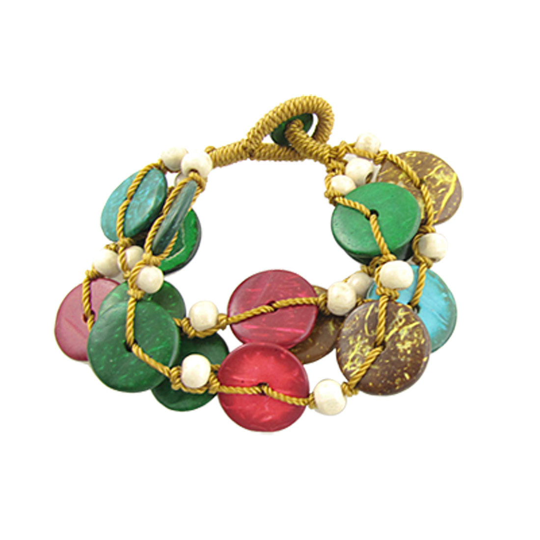 Ladies Colorful Coconut Shell Wooden String Bracelet