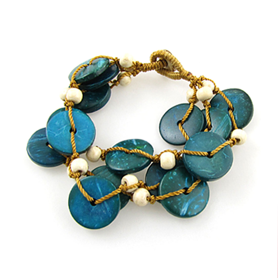 Lady Turquoise Round Coconut Shell Bead String Bracelet