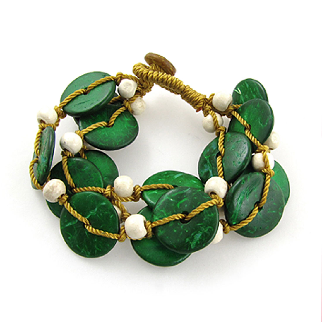 Ladies Green Coconut Shell Yellow Nylon String Bracelet