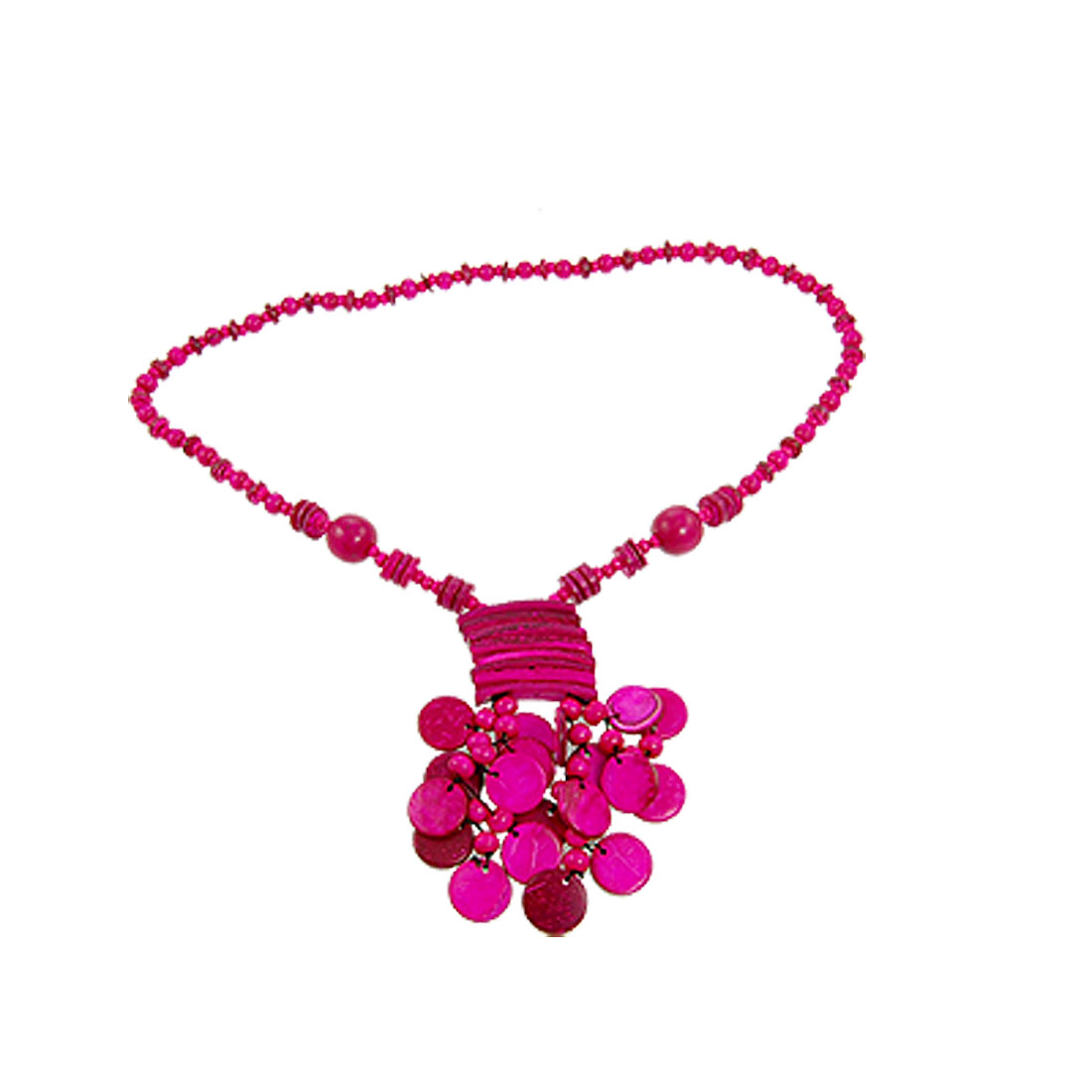 Women Coconut Shell Bead Button Rectangle Pendant Necklace Fuchsia