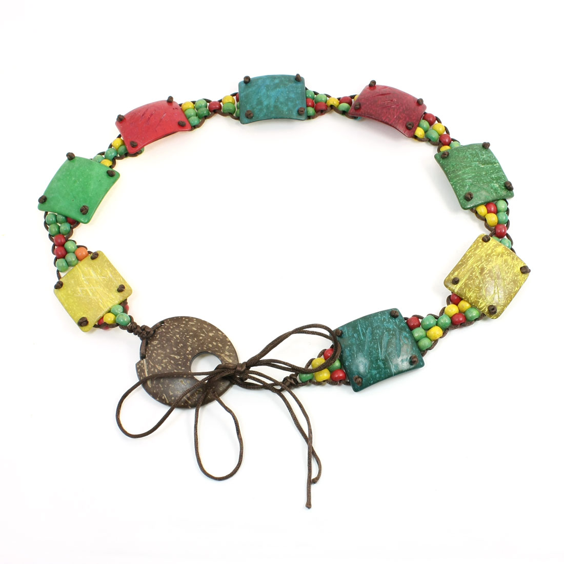 Rectangle Colorful Coconut Shell Wooden Beaded Self Tie Belt for Lady