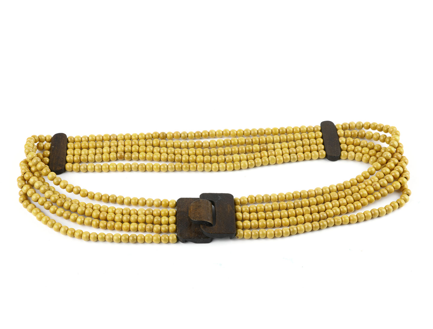 Lady Strand of Yellow Wooden Beaded Elastic Waist Belt