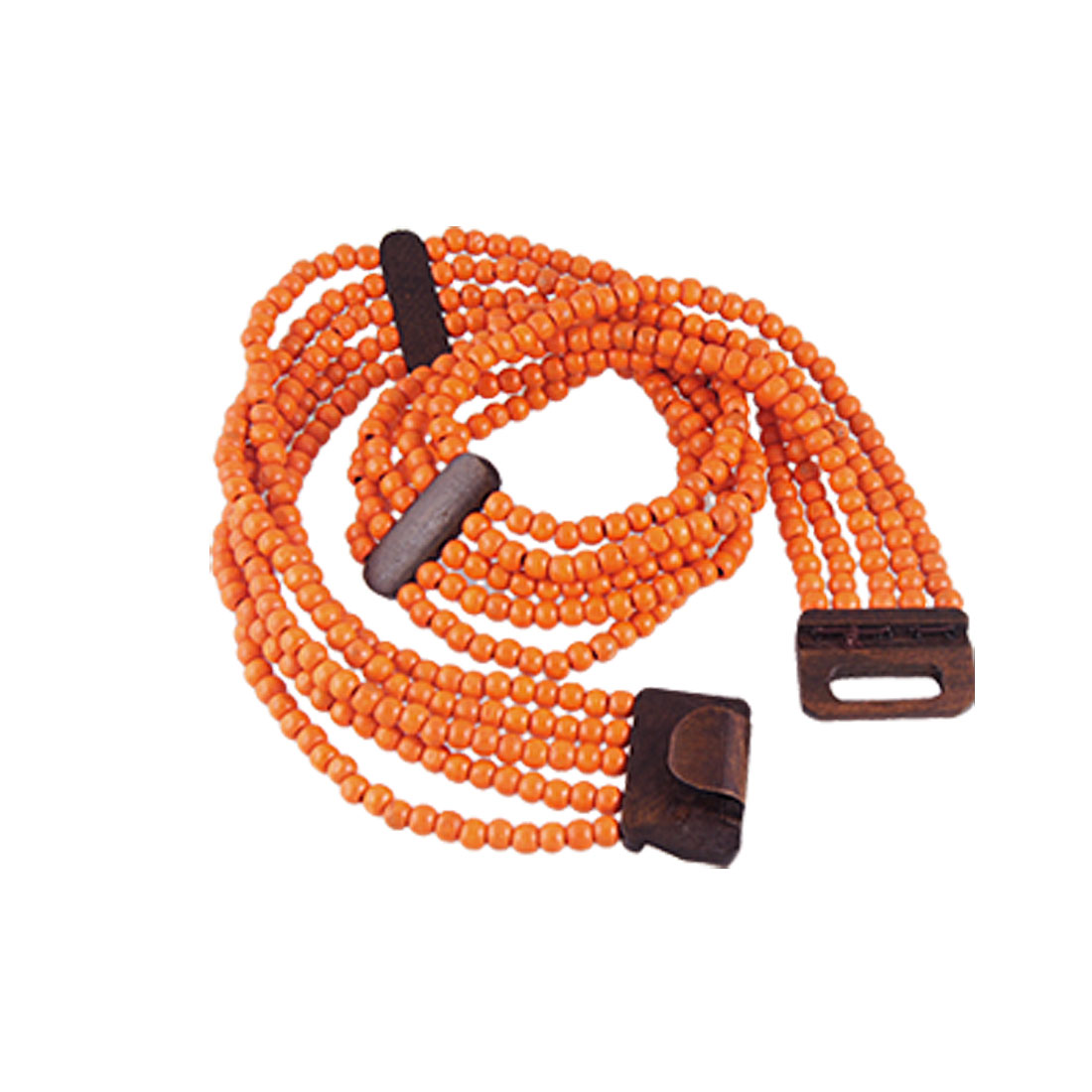 Lady Hook Buckle Strand of Orange Wooden Beaded Elastic Waist Belt