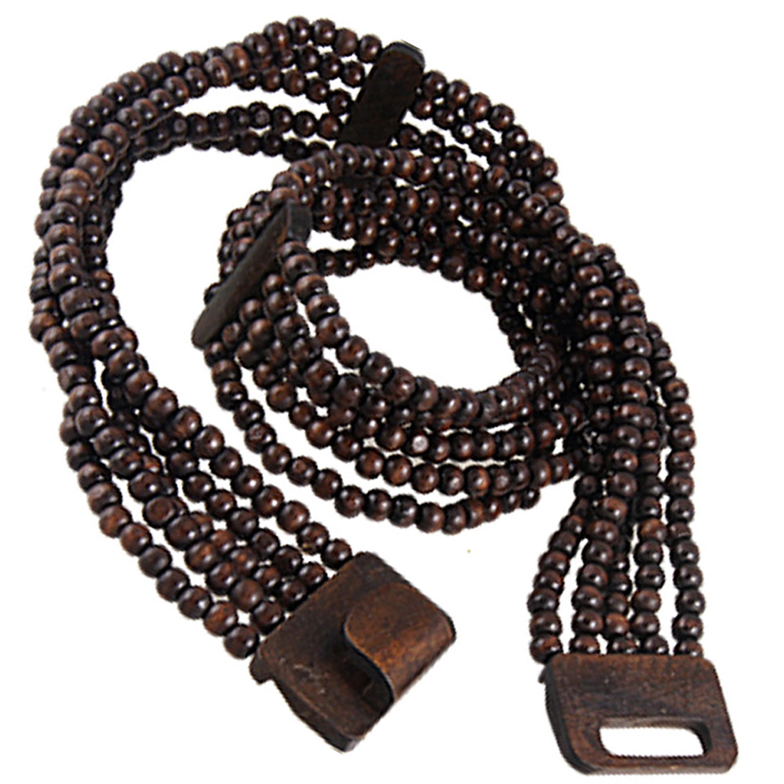 Multi String Bead Band Brown Wooden Elastic Waist Belt for Lady