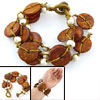 Brown Coconut Shell Wooden Beaded Bracelet for Lady