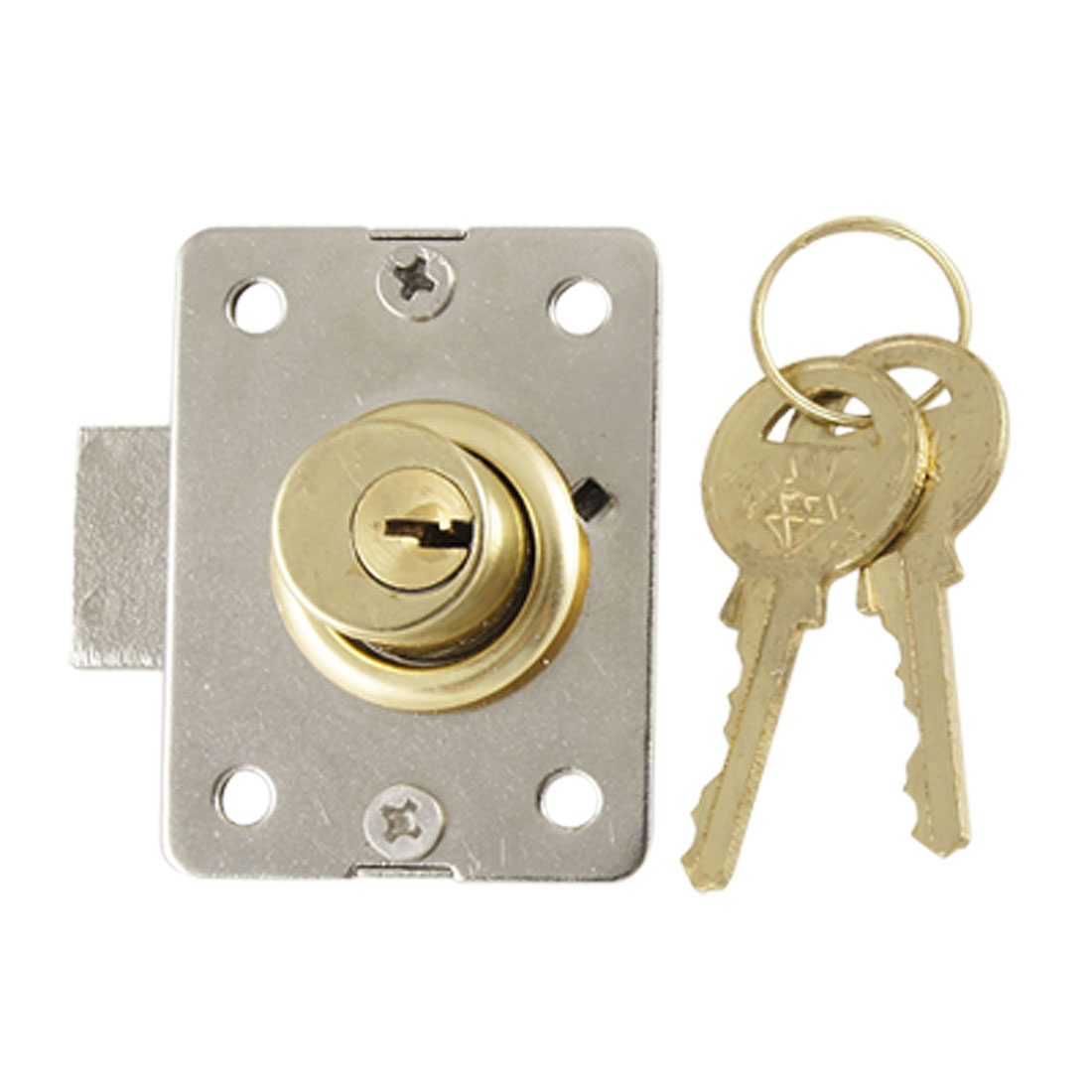 "3/5"" Cylinder Diameter Gold Tone Deadbolt Drawer Locker Lock w 2 Keys"