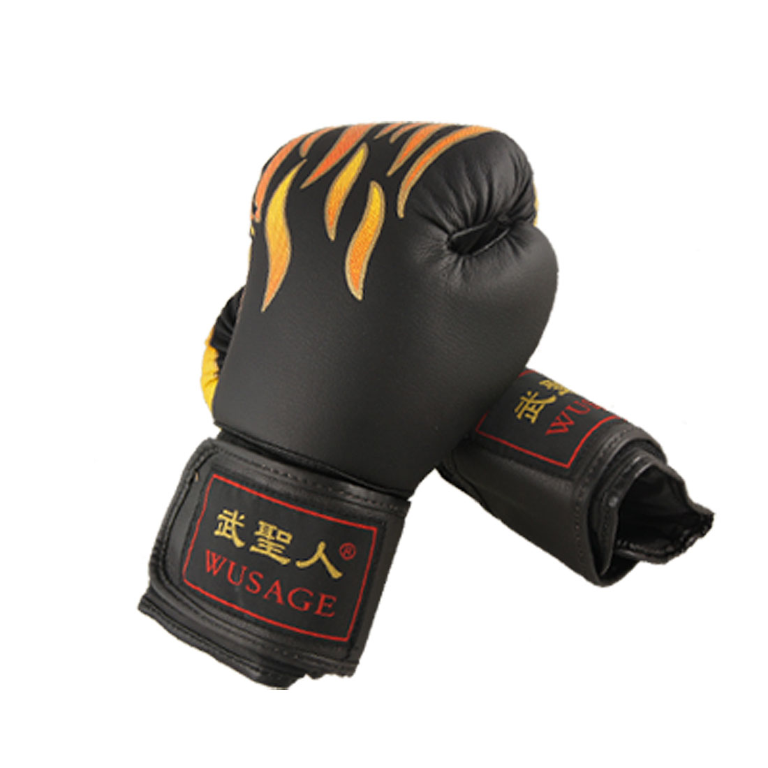 Foam Padded Fire Flame Boxing Training Gloves Black