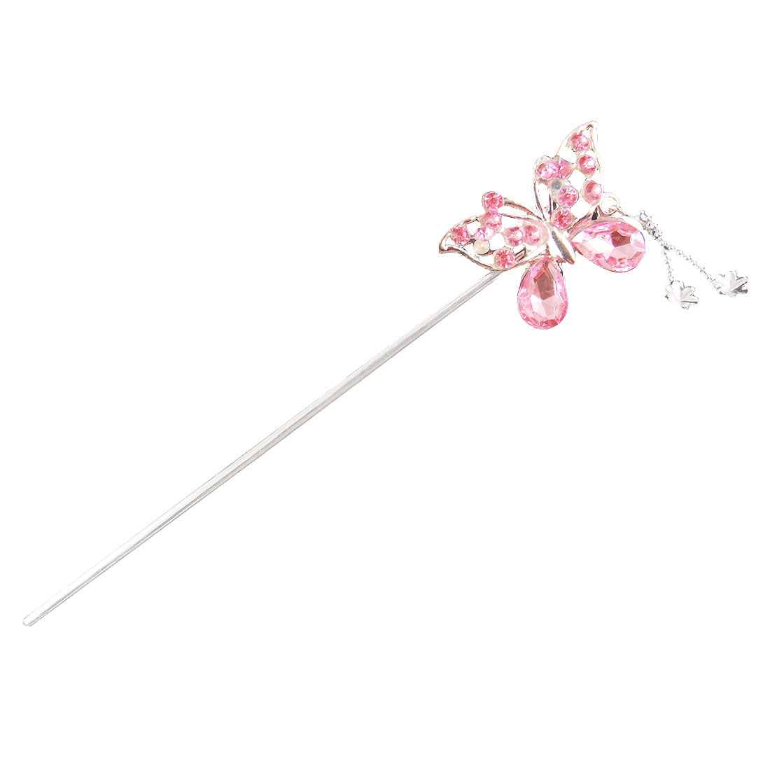 Jewelry Pink Faceted Faux Crystal Accent Butterfly Hairpin Stick