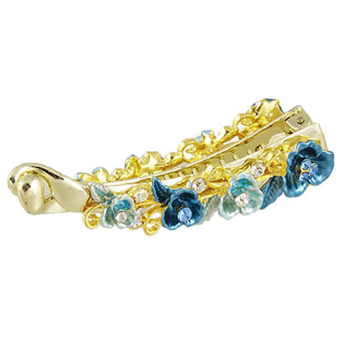 Glittery Rhinestone Accent Blue Floral Ponytail Banana Barrette