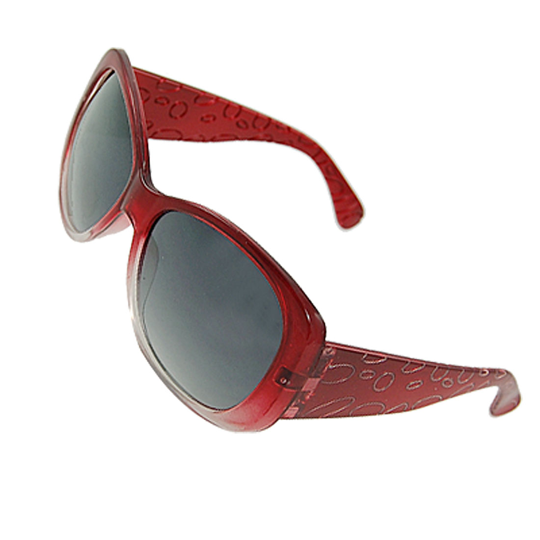 Ladies Red Full Frame Circles Print Wide Plastic Arms Sunglasses