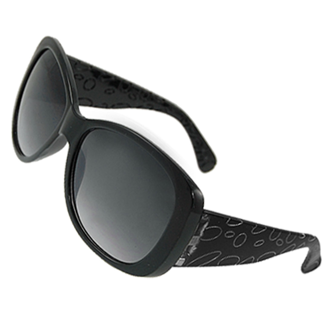 Ladies Circles Print Plastic Arms Black Full Frame Sunglasses