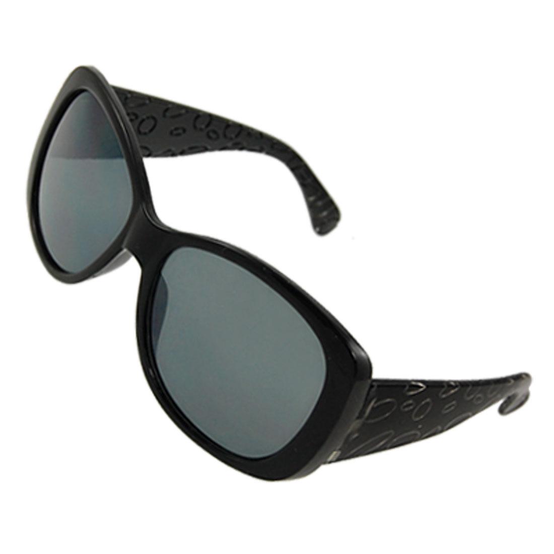 Ladies Black Full Frame Plastic Arms Colored Lens Sunglasses