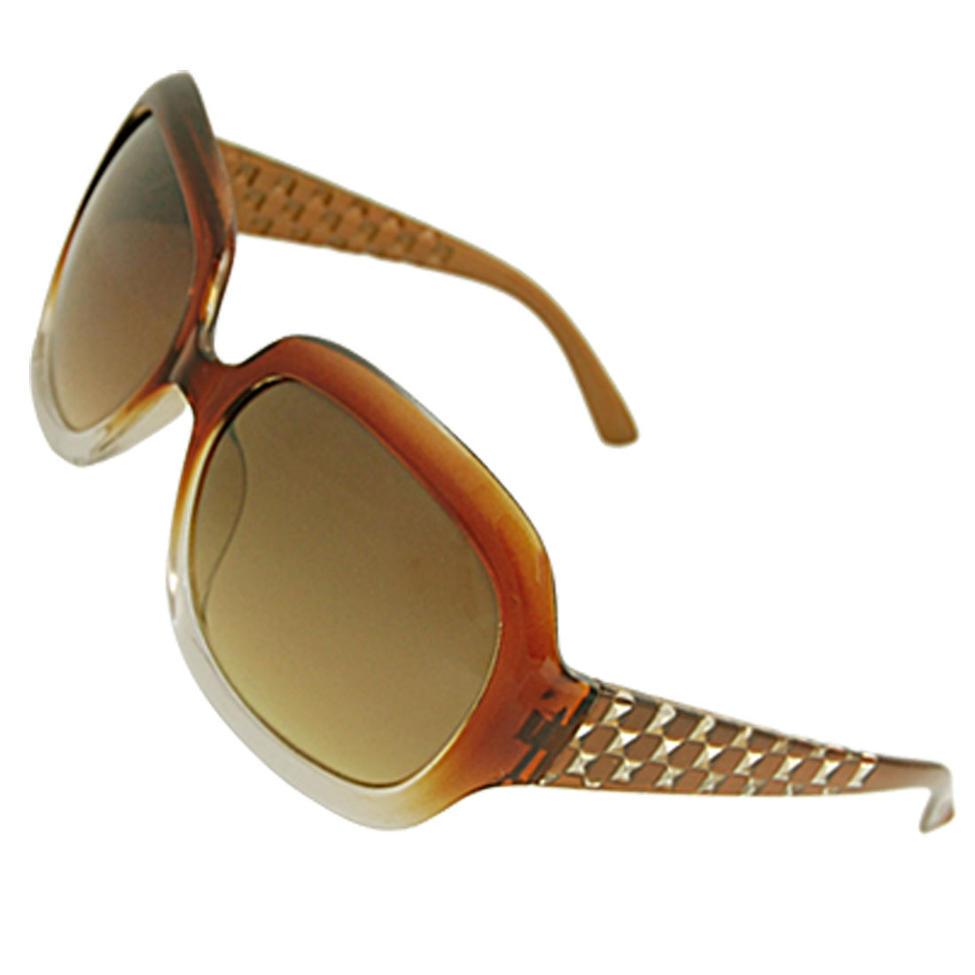 Ladies Brown Full Frame Innerside Textured Plastic Arms Sunglasses