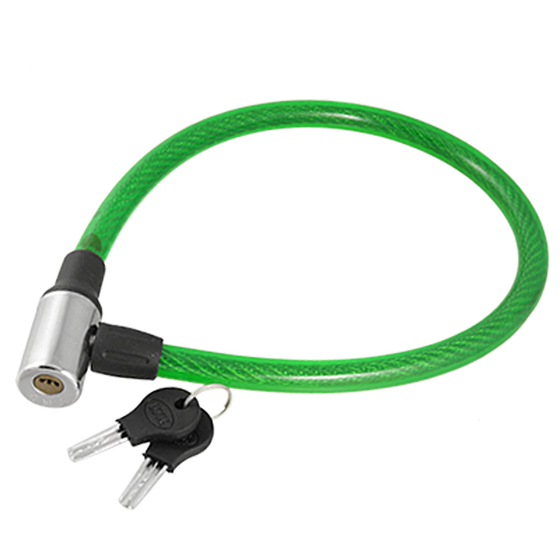 Green Plastic Covered Steel Wire Cable Lock Safeguard for Bike Bicycle
