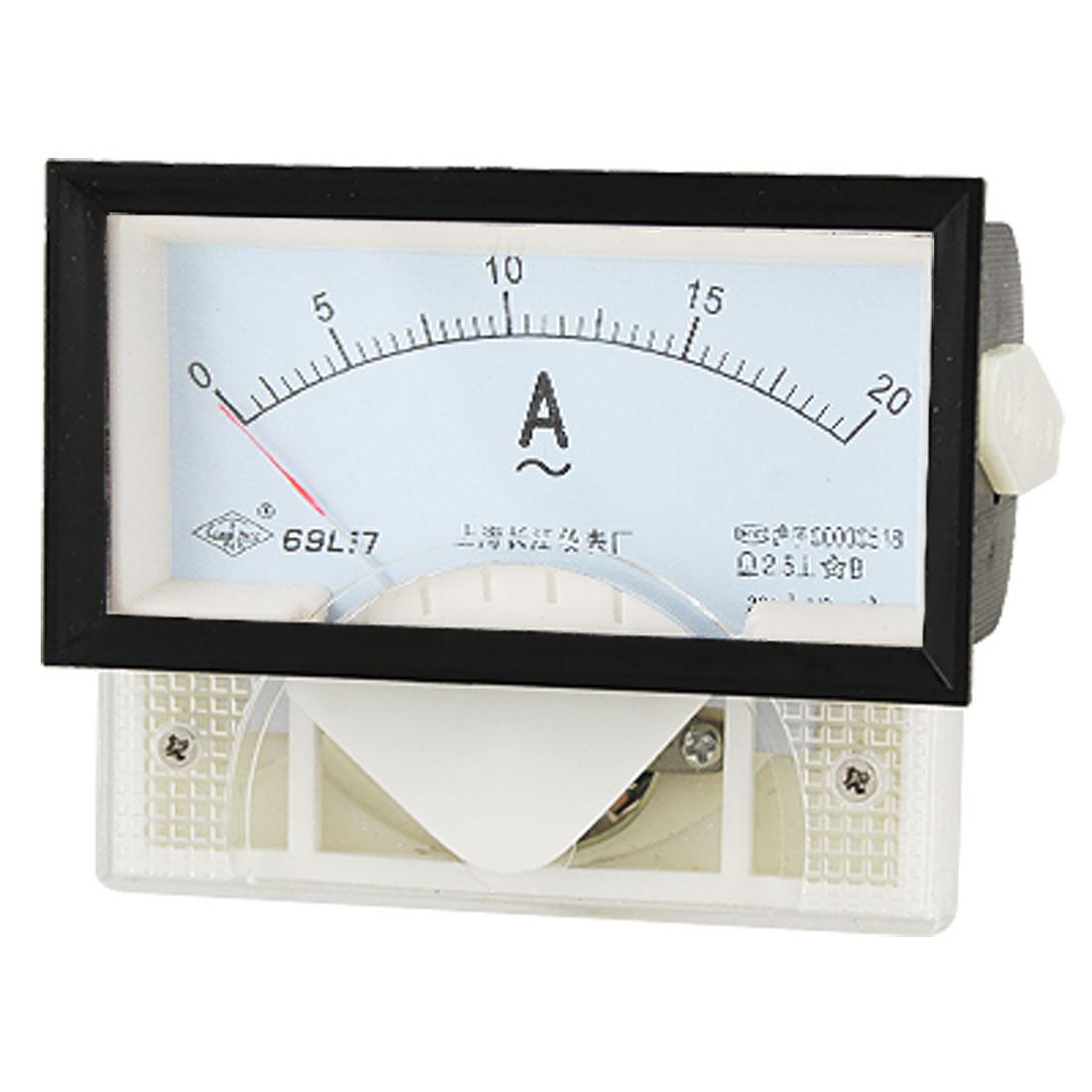 Analog Current Gauge AC 20A Rectangle Mount Panel Amperemeter