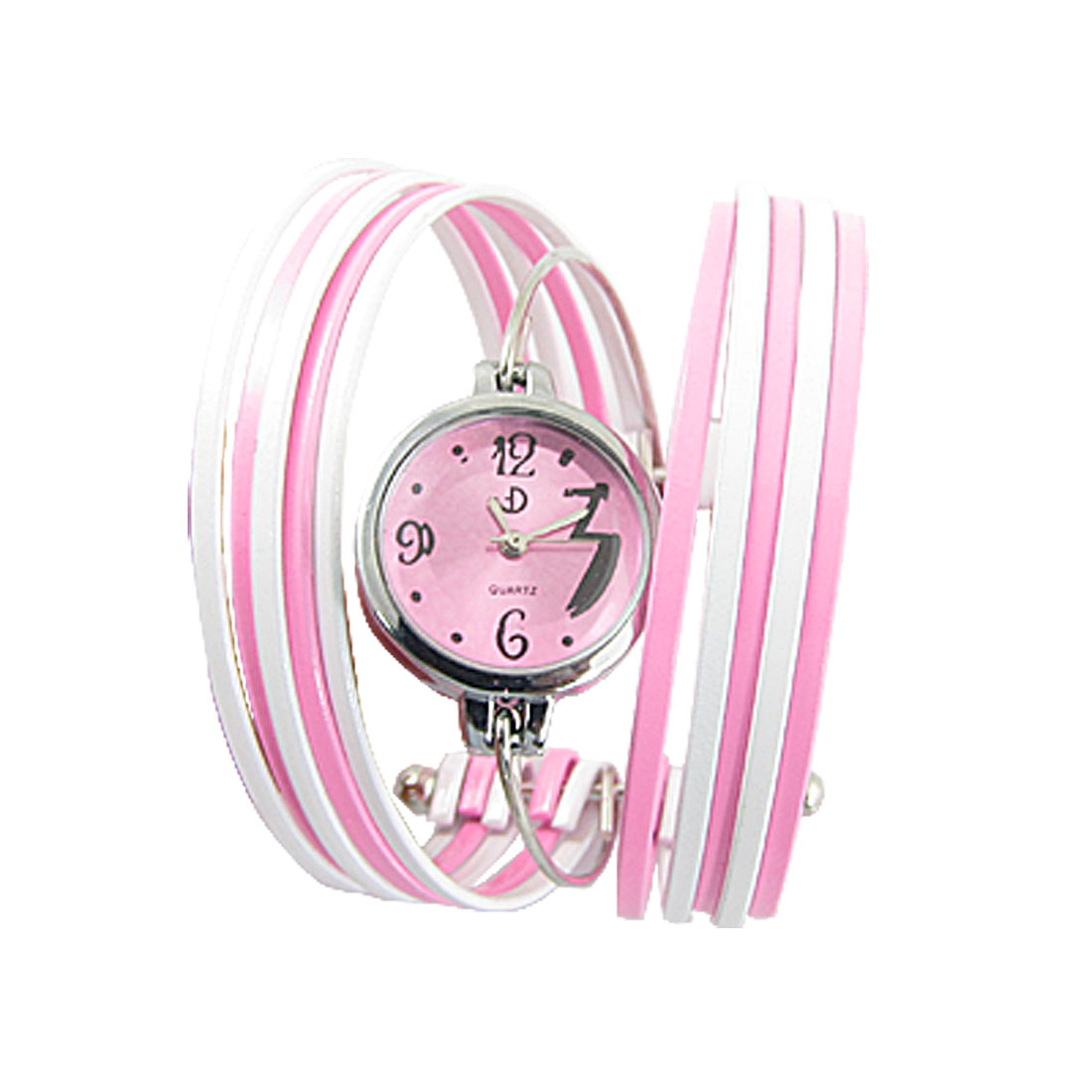 Ladies Pink White Multi Layer Alloy Band Bracelet Watch