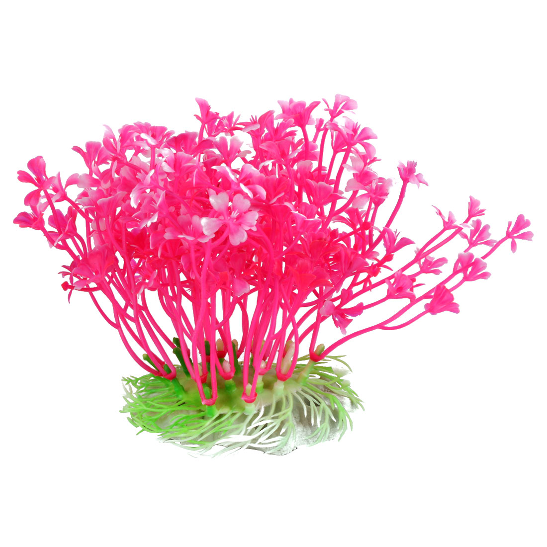 Fish Tank Aquatic Dwarf Plastic Plant Ornament Hot Pink White