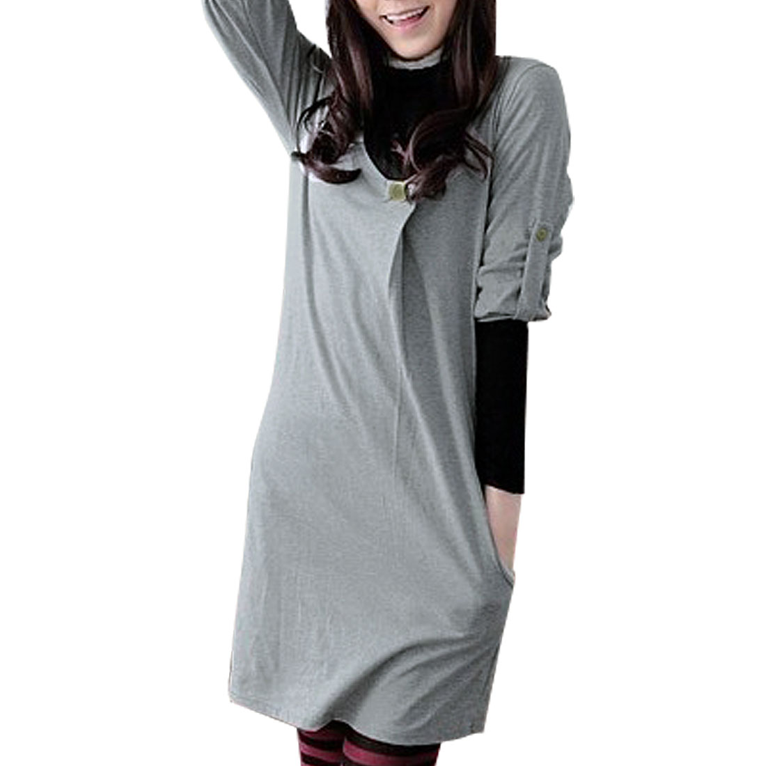 Ladies Button Tap Half Sleeve Pleated Tunic Sweatshirt