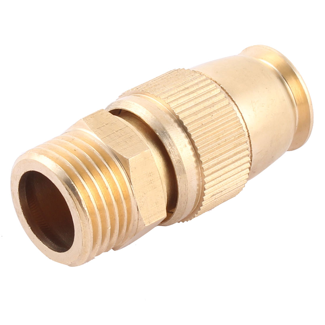 Garden Lawn Brass Adjustable Nozzle Hose Connector Gold Tone