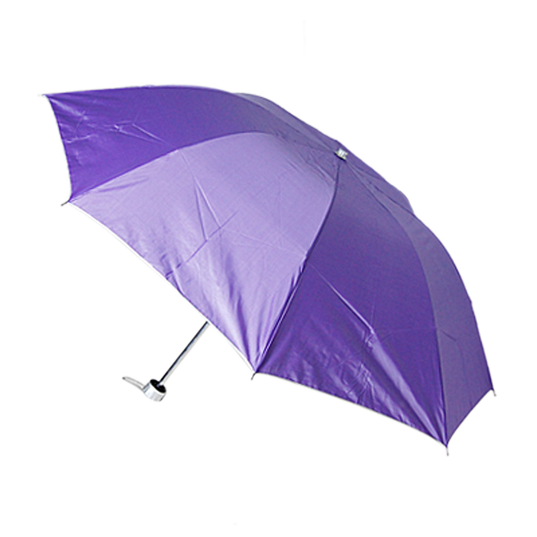 Retractable Shaft Fabric Purple Canopy 3 Folding Umbrella
