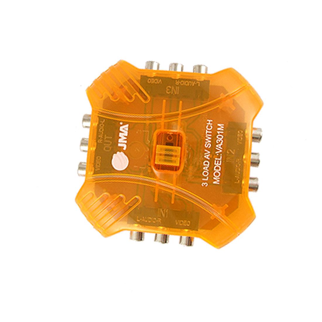 Orange 3 Way Audio Video RCA Switcher Switch Splitter