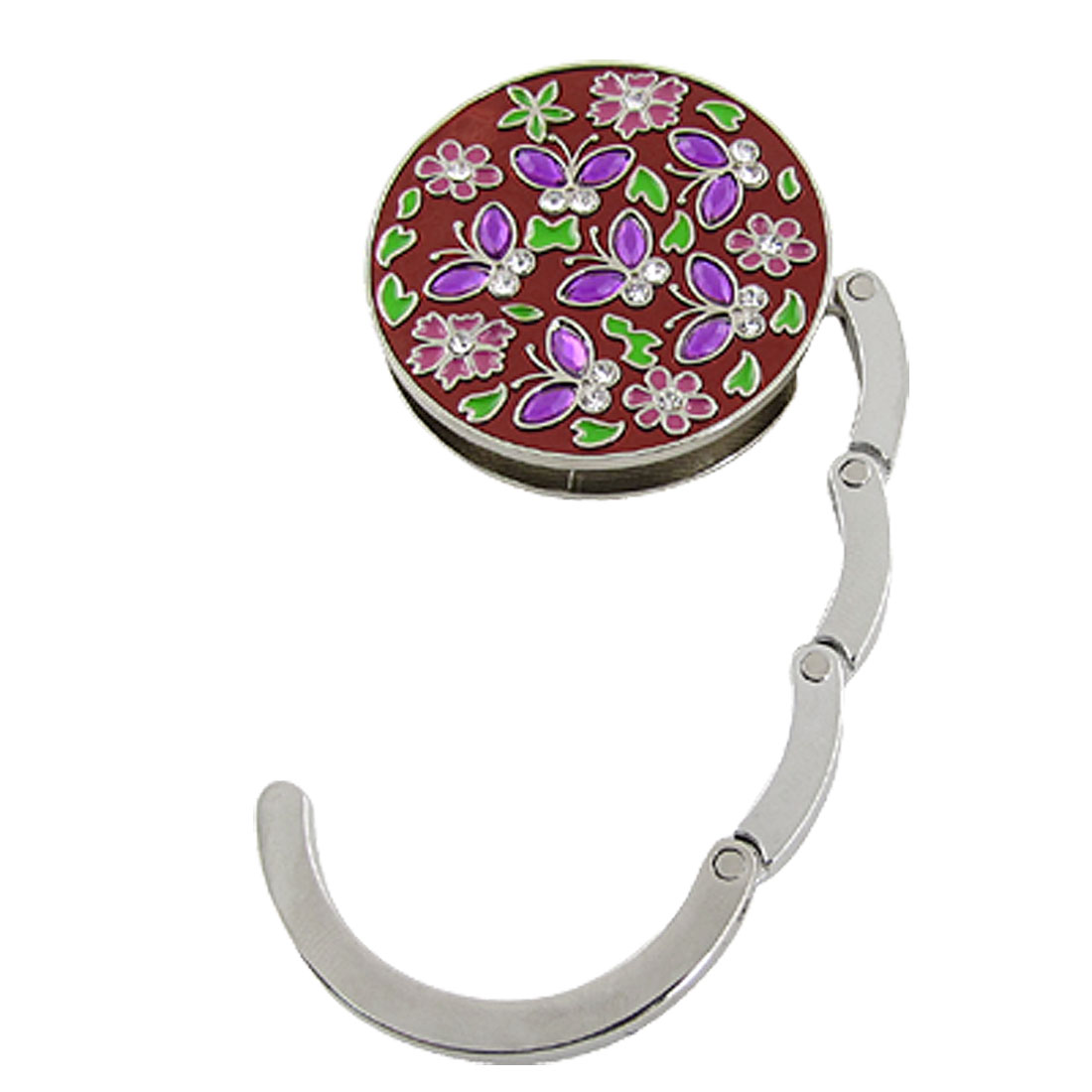 Fuchsia Flower Folding Round Shape Alloy Handbag Hook