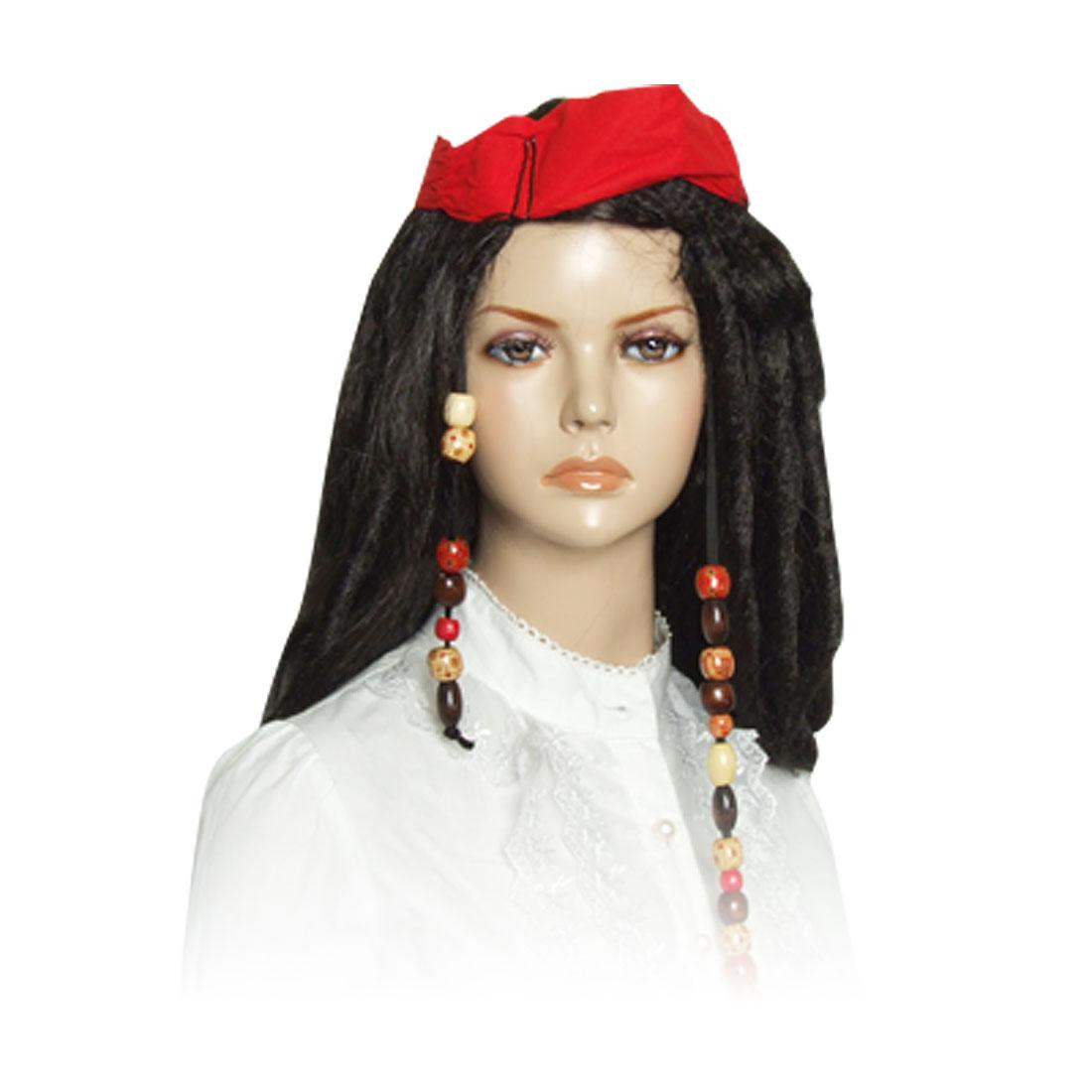 Halloween Faux Beard Red Bandana Decor Pirate Costume Periwig Wig