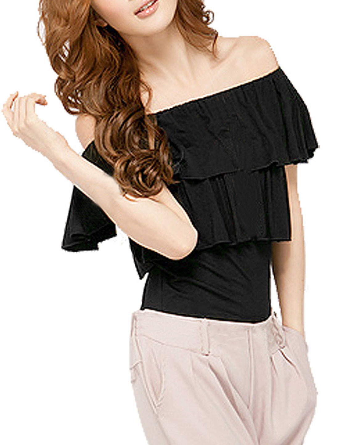 Black Ruffle Layers Elastic Boat Neck Cap Sleeve Shirt for Lady XS
