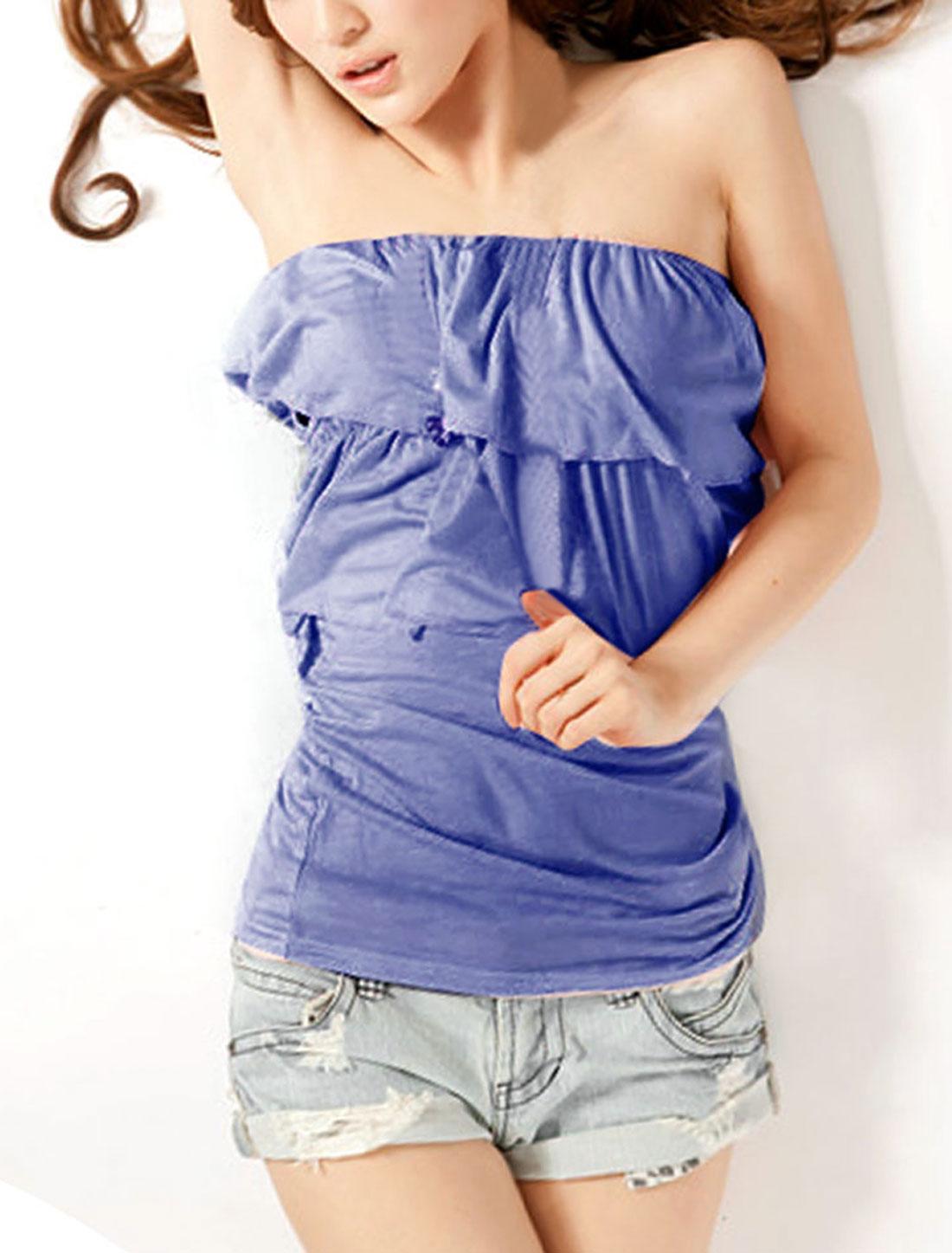Lady Boat Neck Off Shoulder Style Ruffles Decor Shirt Top Blue XS