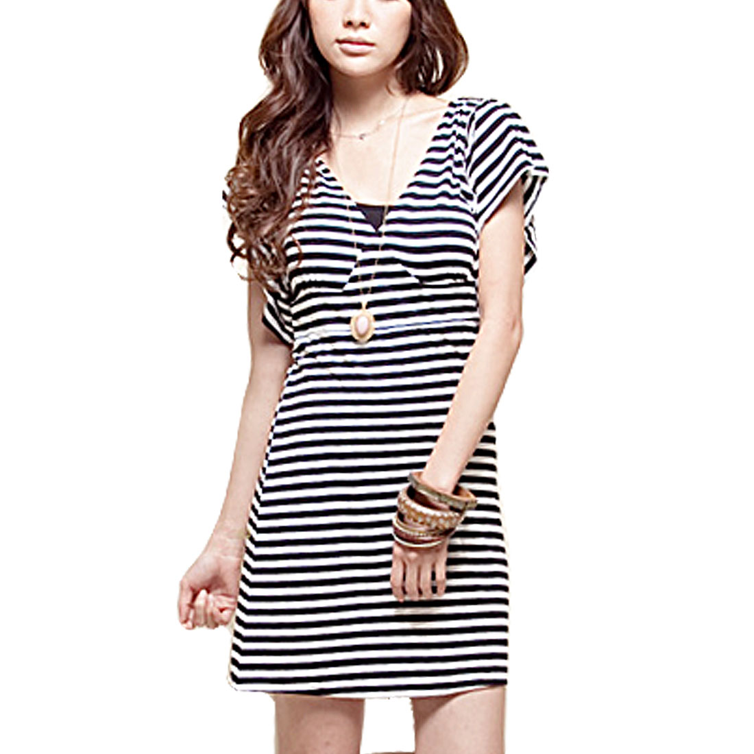 Ladies Short Sleeve Deep V Neck Black White Striped Mini Dress S