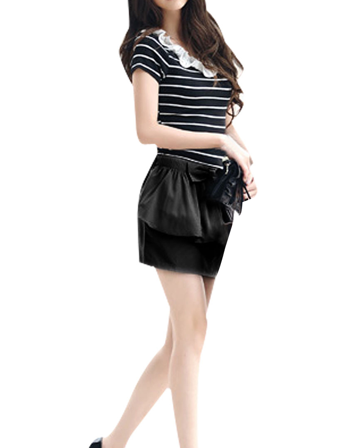 Bowtie Decor Black Waist Two Layers Skirt XS for Ladies
