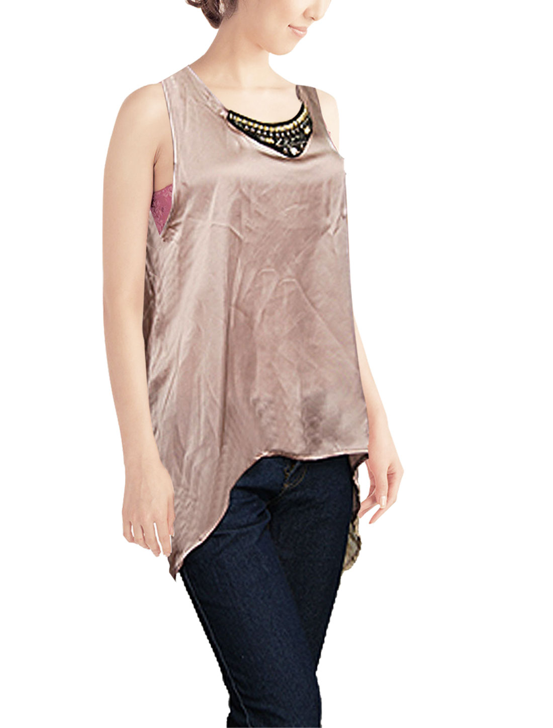 Lady Coffee Color Scoop Neck Sleeveless Chiffon Tank Top S