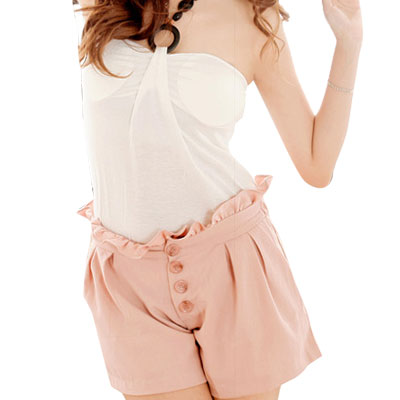 Summer Pink Ruffled Hem Elastic Waist Shorts S for Ladies