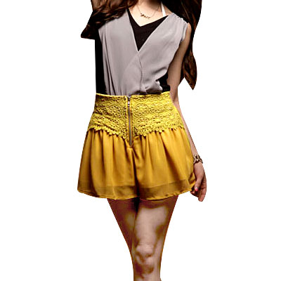 Zip up Yellow Elastic Waist Chiffon Shorts XS for Lady