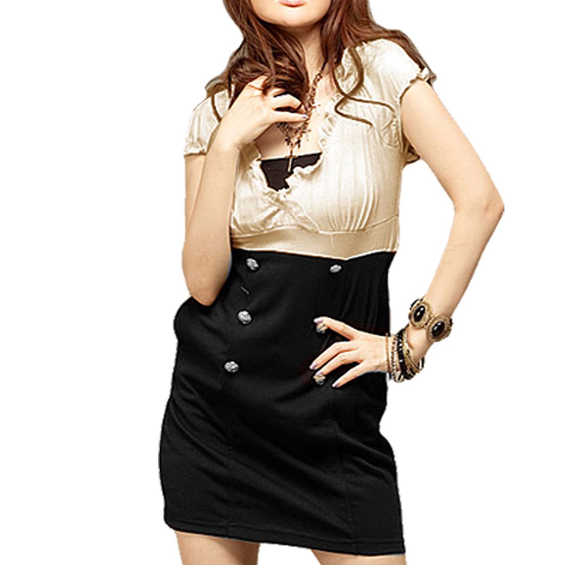 Deep V Neck Beige Black Pullover Dress XS for Ladies