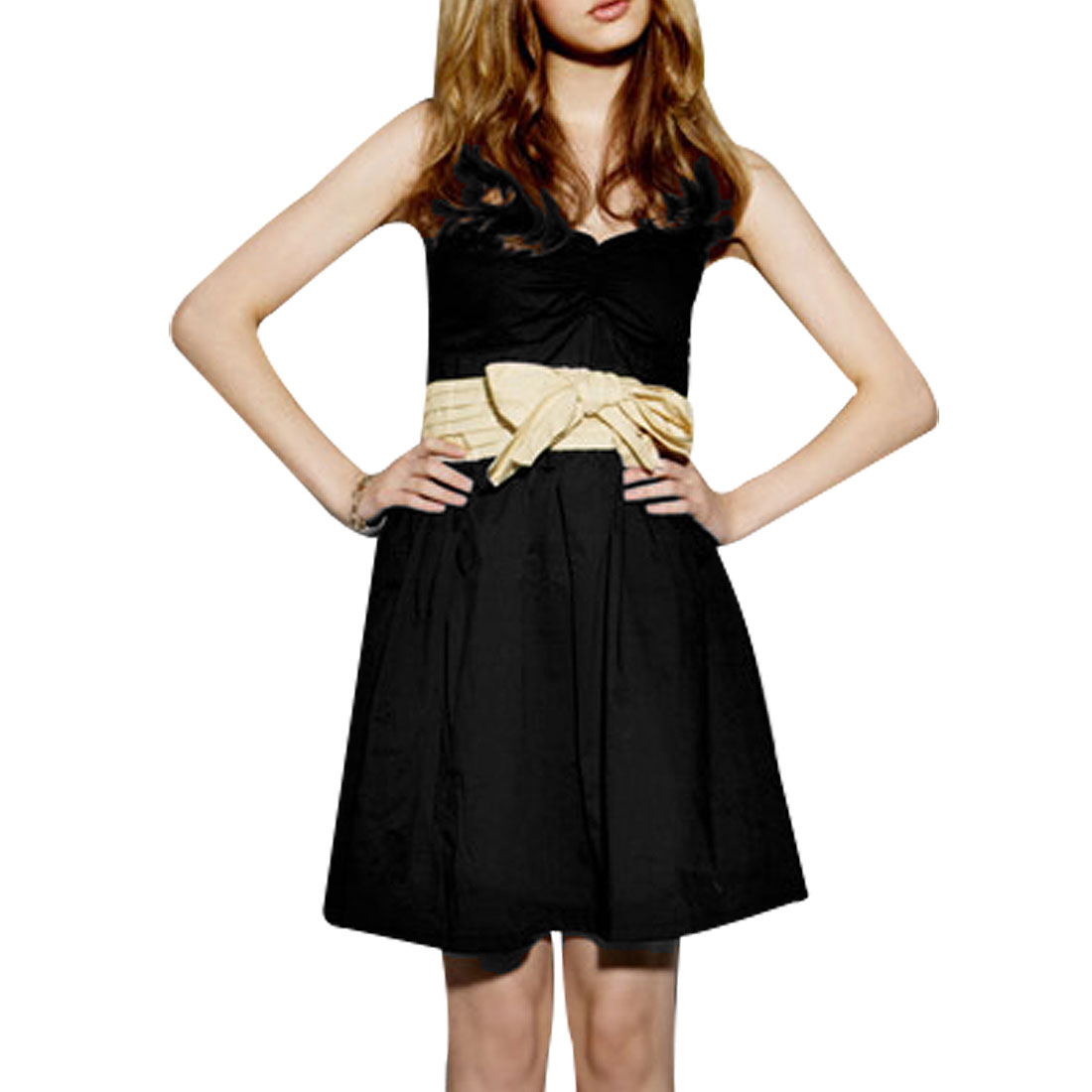 Lady Black Padded Bust Beige Self Tie Strap Mini Tube Dress XS