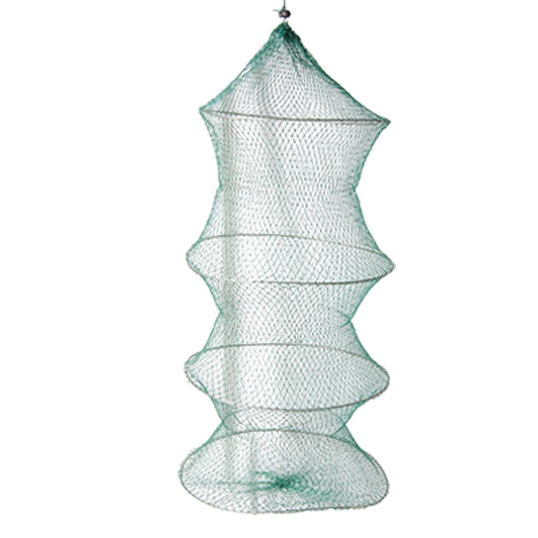 Green Drawstring Closure 3 Sections Folding Crab Fishing Net