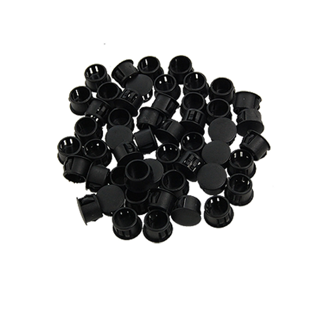 "50 Pcs 9/16"" Head Plastic Locking 1/2"" Dia Hole Plugs Black"