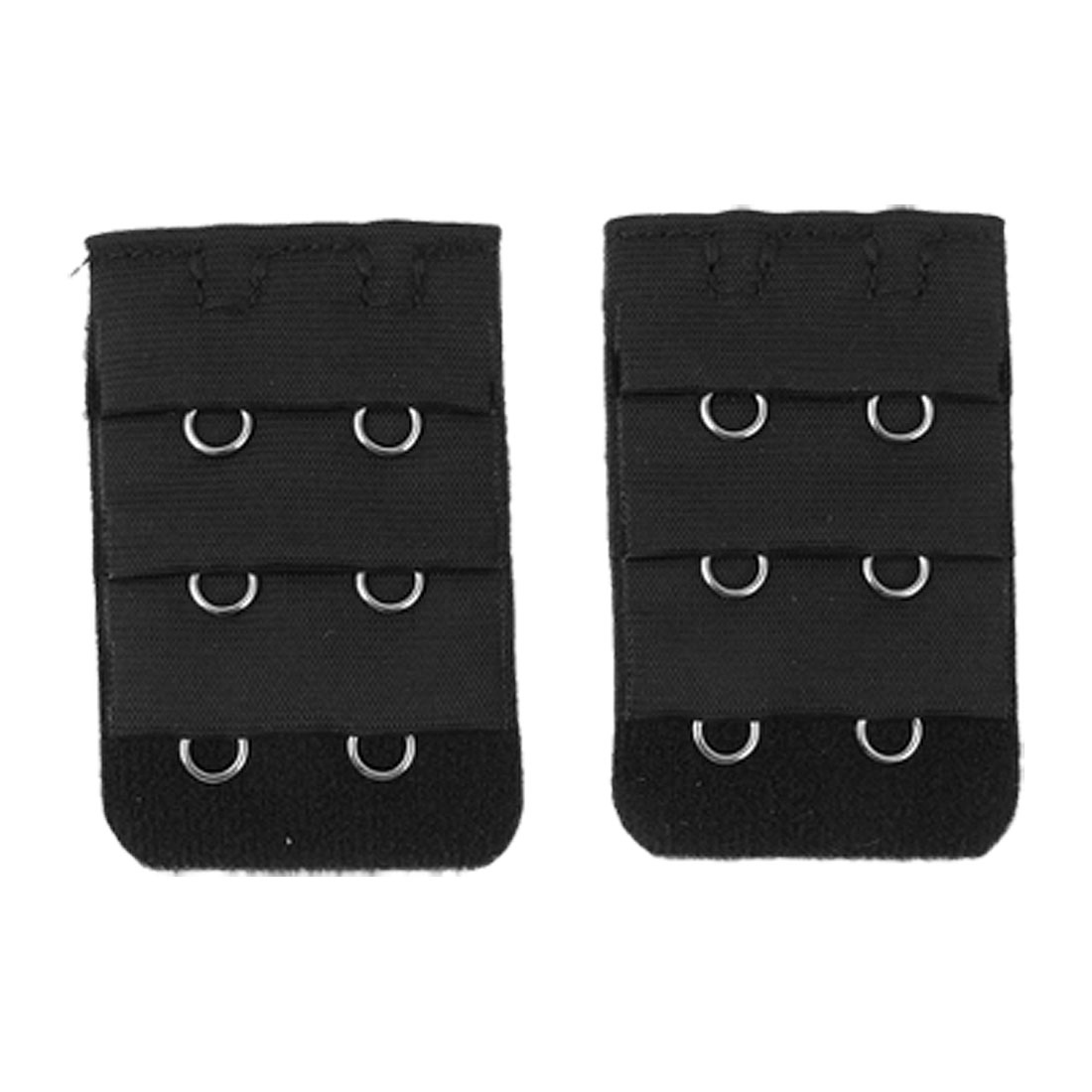 Pair Black 3x2 Hooks Bra Extender Hook and Eye Tape