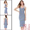 Allegra K Lady White Blue Stripe Racer Back Tank Dress Size XS