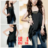 Ladies Plastic Stud Decor Scoop Neck Black Tank Top XS