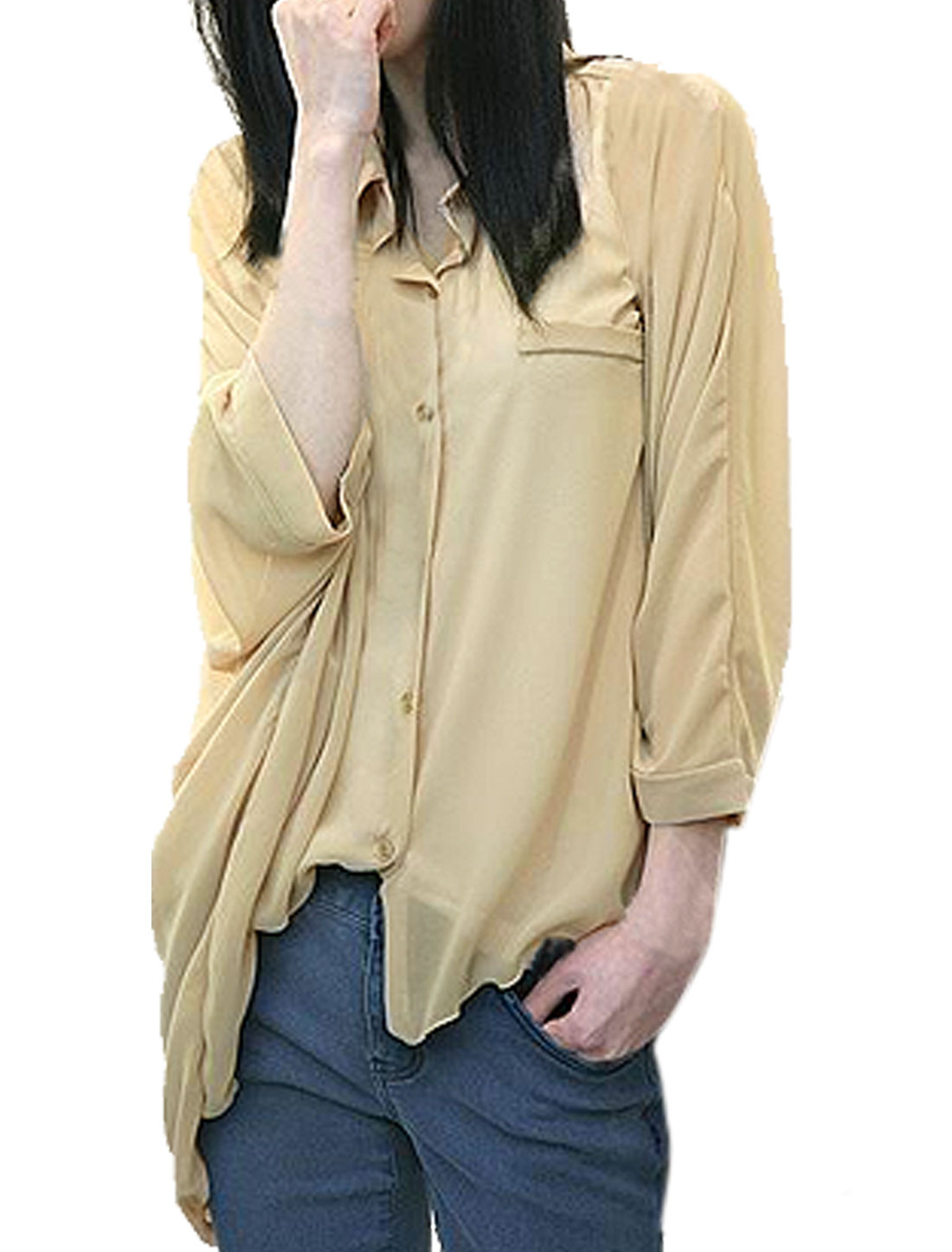 Ladies Mock Pocket Point Collar Blouse + Elastic Cami