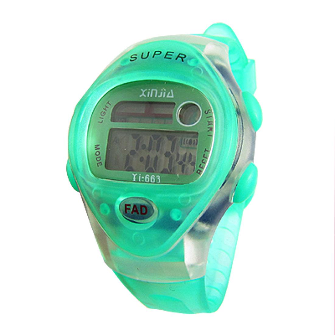 Green Soft Plastic Band Sports Wrist Watch for Children