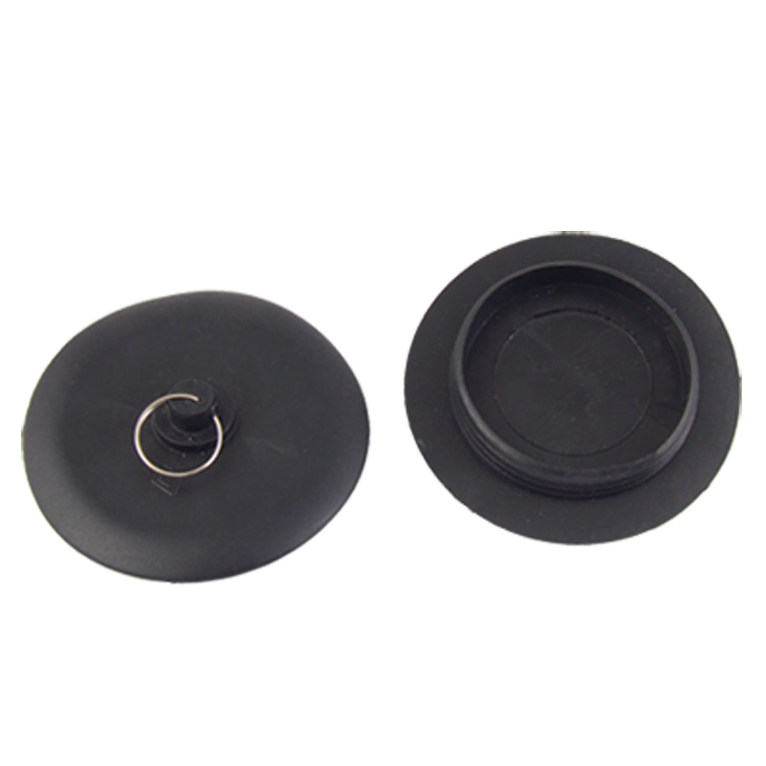2 Pcs Black Rubber Stopper Bathtub Sink Wash Basin Plug