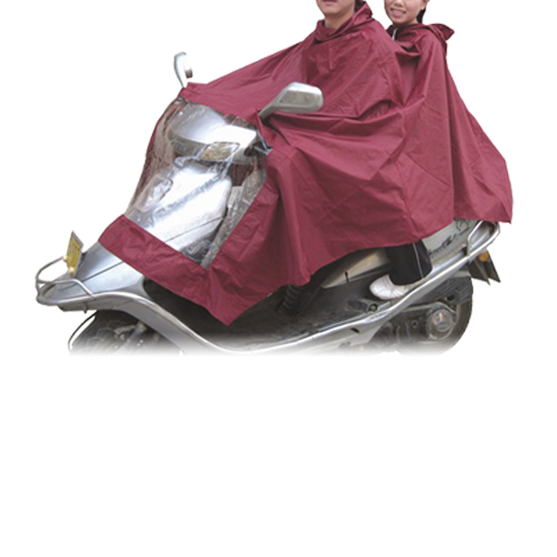 Motorcycle Two Person Style Raincoat Rain Shadow Poncho Burgundy
